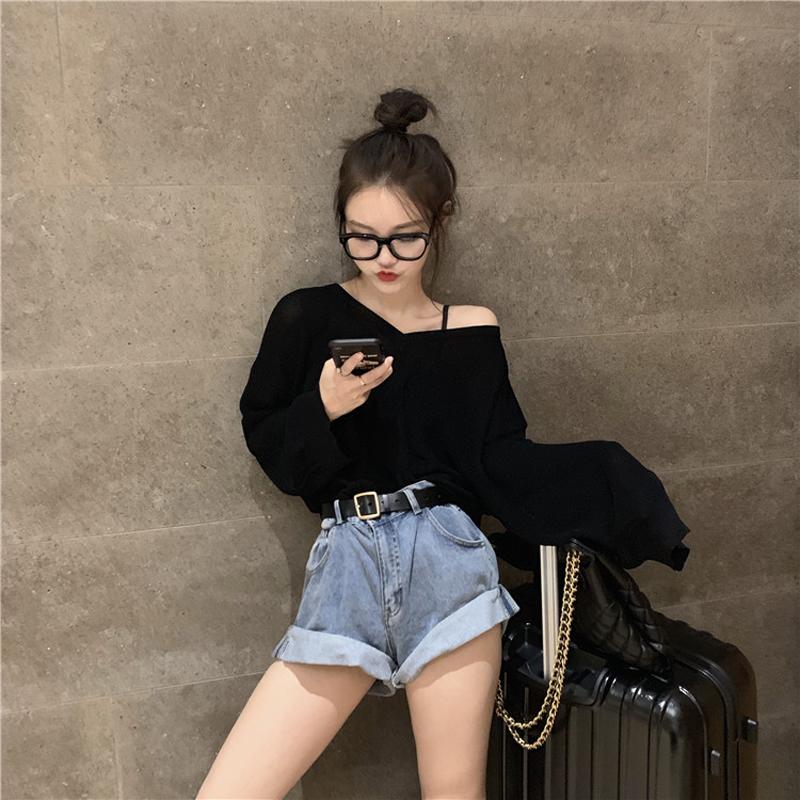 韩版慵懒风宽松v领条纹长袖防晒针织衫上衣女秋季冰丝薄款套头t恤