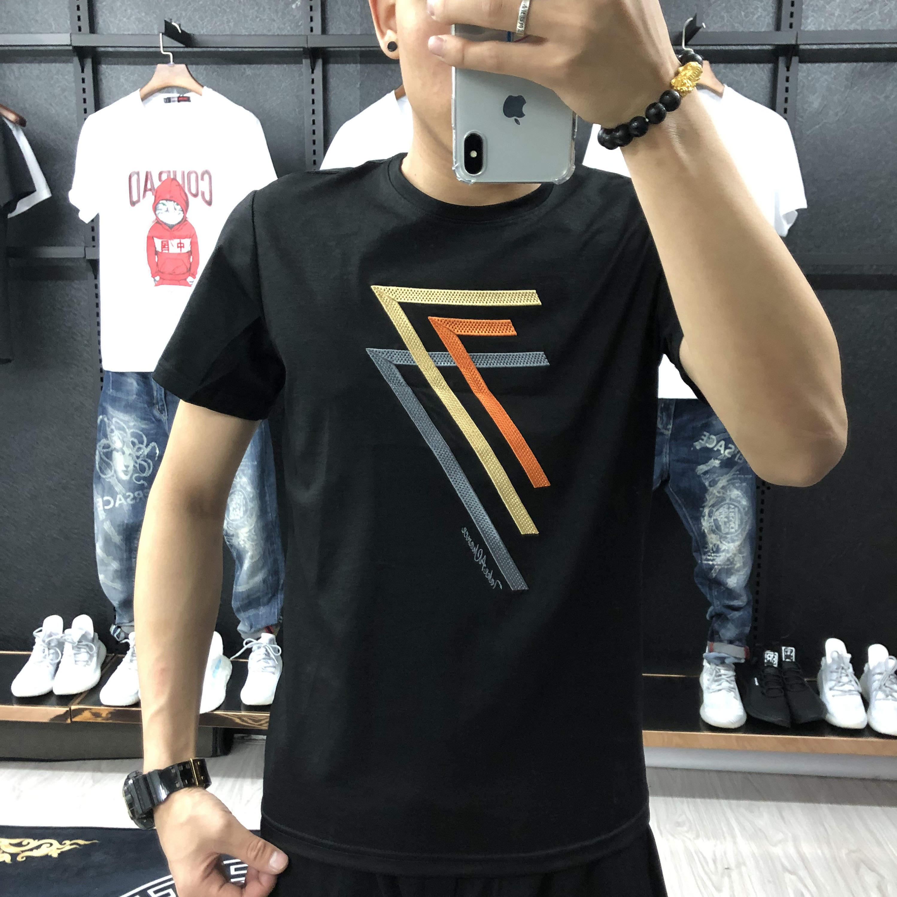 哈尔滨光头强男装店网红同款热门数字7刺绣时尚短袖夏季男士T恤衫