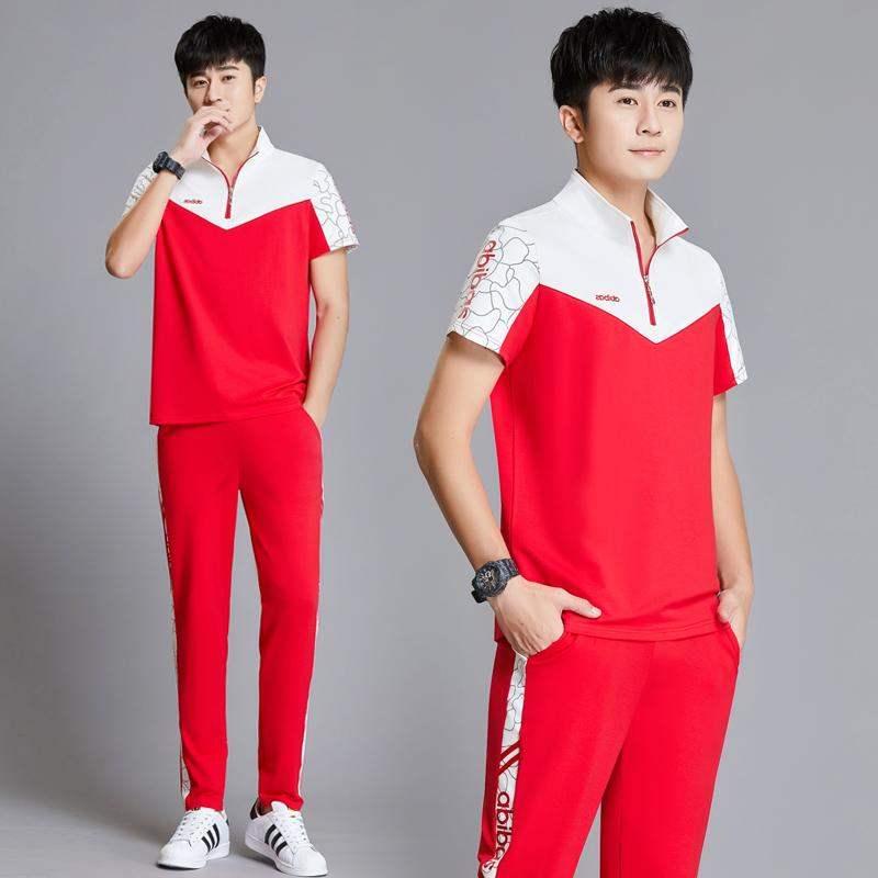 高档361青少年帅气潮流时尚短袖长裤休闲装男士夏天衣服运动套装