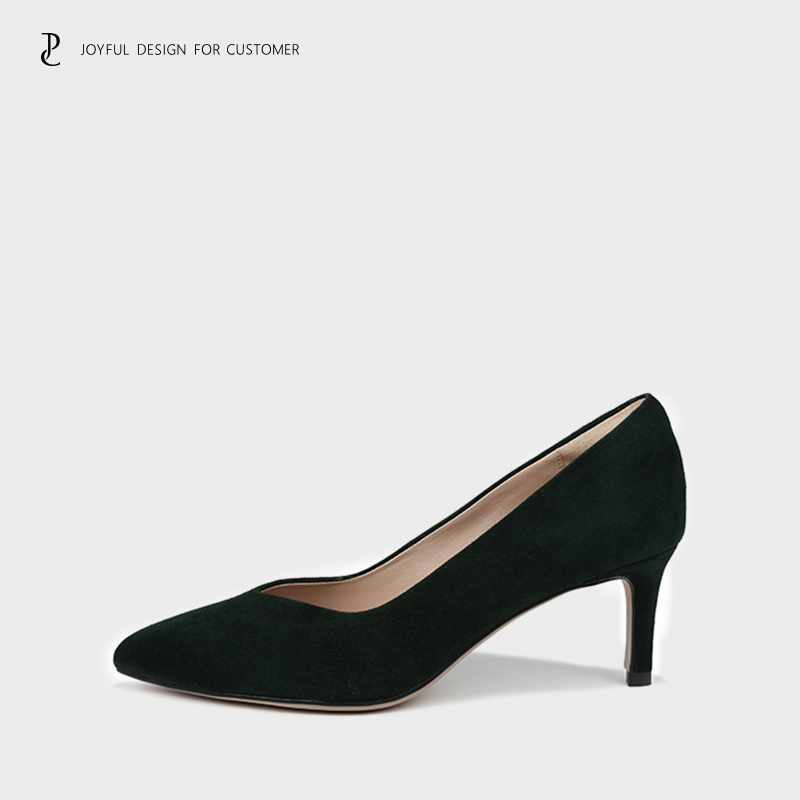 High heeled shoes womens autumn new leather v-mouth simple fashion sexy thin heeled commuter womens shoes