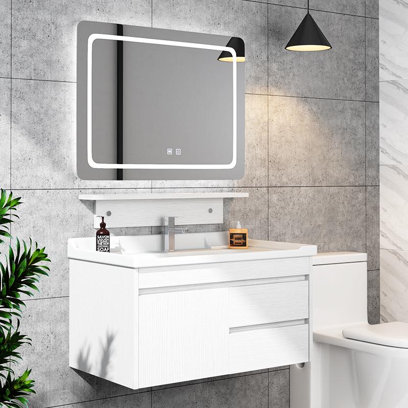 11-12新券智能浴室柜组合实木北欧镜柜洗手脸盆柜卫生间洗漱台现代简约卫浴