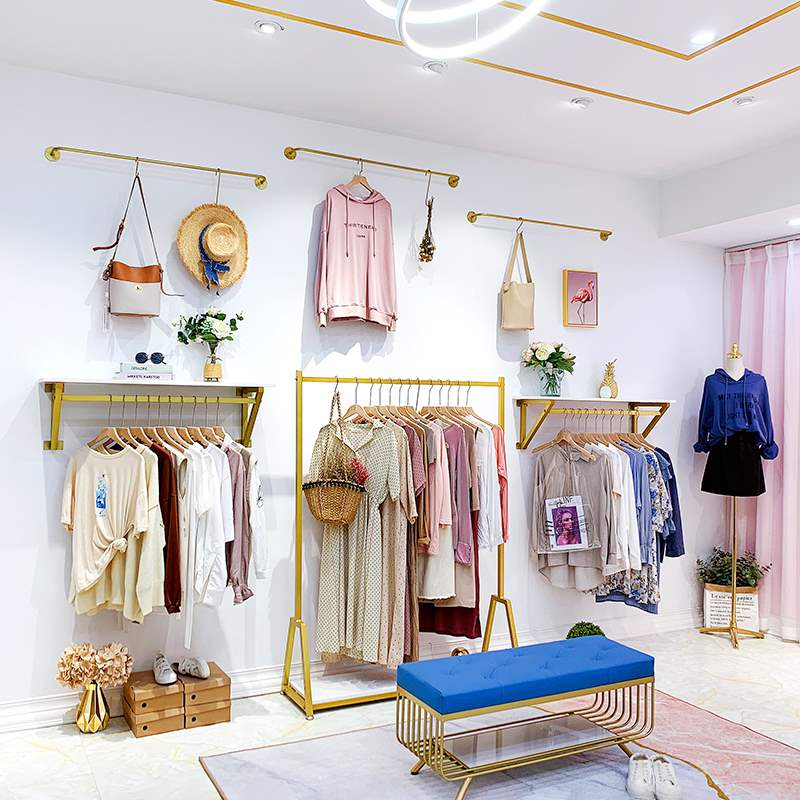 成套服饰家具服装店展示架上墙壁挂式挂衣架简约女装店展示架金色