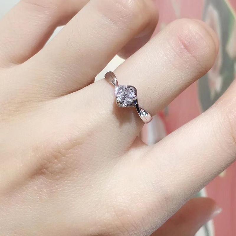 俪萌珠宝白18K金铂金钻石戒指30分钻戒女求定结婚情侣对戒显钻