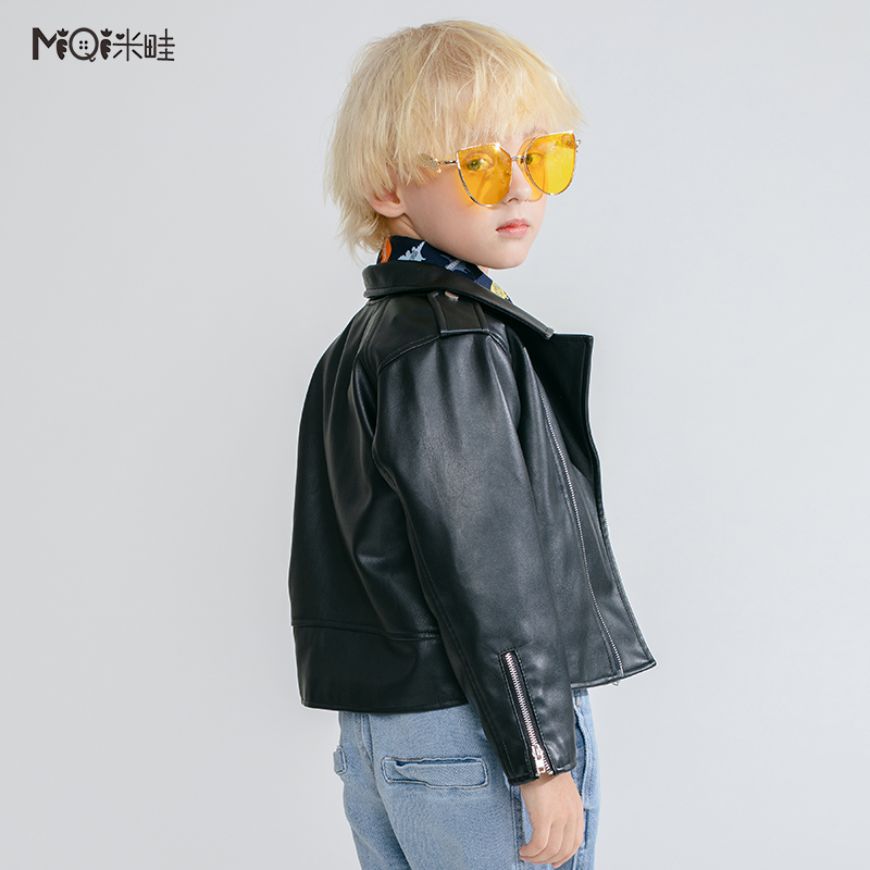 Rice border childrens clothing boys leather coat 2021 spring clothing new childrens foreign locomotive clothing childrens PU jacket fashion
