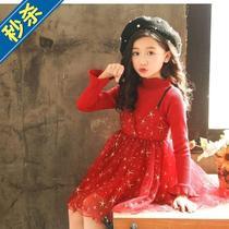 。套w装复古款秋天表演儿童裙子韩版连衣裙女童春季小女生可爱舞
