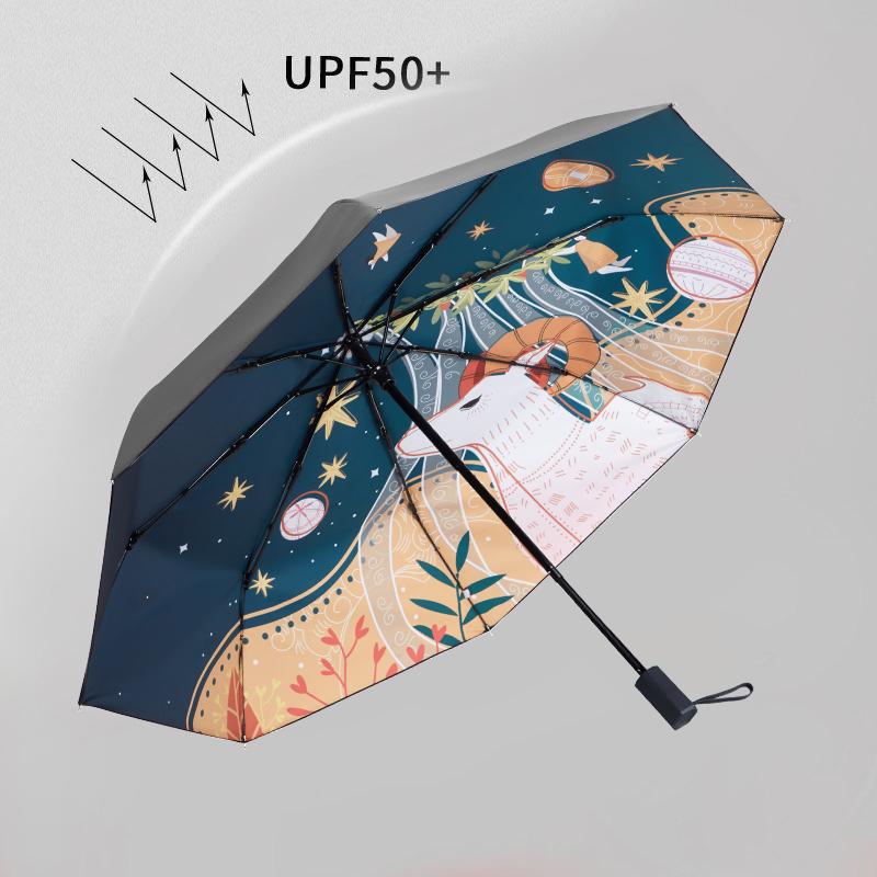 红叶雨伞女晴雨两用太阳伞防晒防紫外线小巧折叠upf50+五折遮阳伞