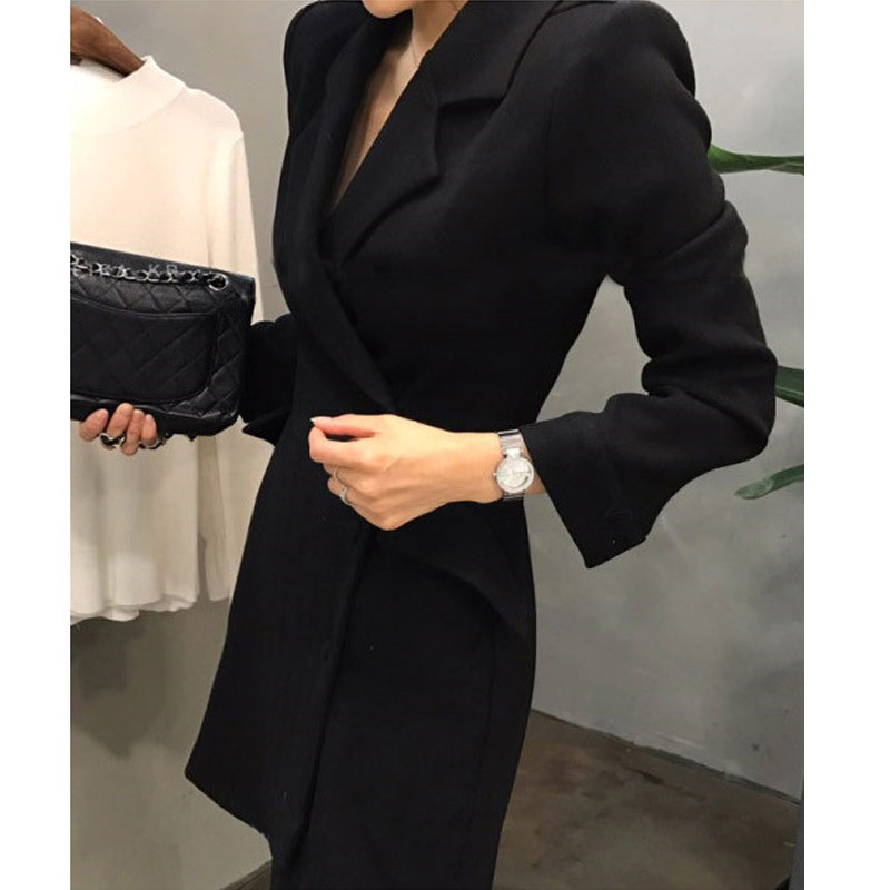 2019 new autumn and winter professional dress womens work clothes Windbreaker Jacket Medium Length single breasted casual suit top