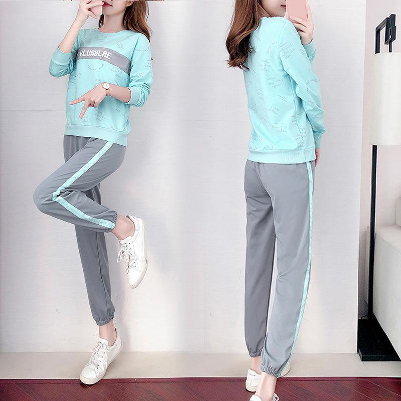 两件套装长袖运动套装女春秋时尚潮流韩版港味休闲卫衣春两件套