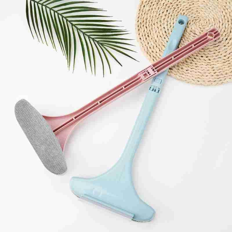 Guard rail handle brush head water wash cleaning family. Grey cleaner glass window multi function screen cleaning brush