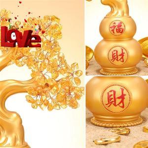 天然黄水晶发财树摆件大号招财风m水葫芦工艺品家居客厅酒柜装饰