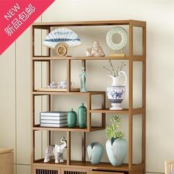博古架新中式f书柜现代简约展示柜多宝阁古董架子实木茶柜架置物