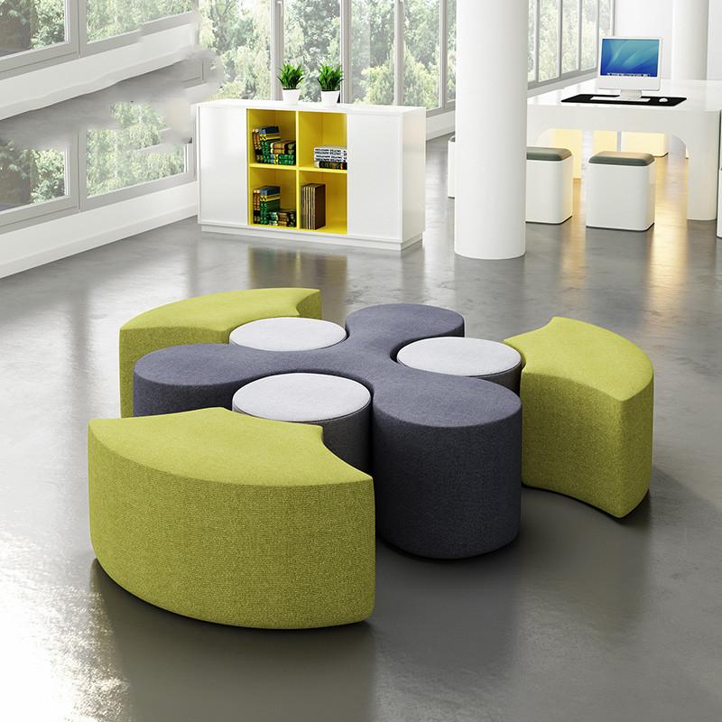 简约休闲商务办公室辅导班培训机构大厅休息区创意异形组合沙发凳
