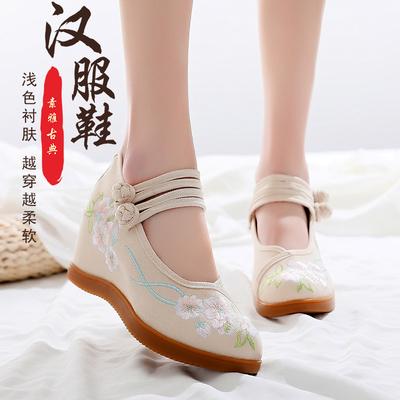 柒社老北京布鞋女汉服鞋子民族风内增高系带牛筋底坡跟绣花古风鞋