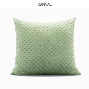 『乔治时代』新品浅绿色立体圆点绒布靠包北欧抱枕样板间方枕