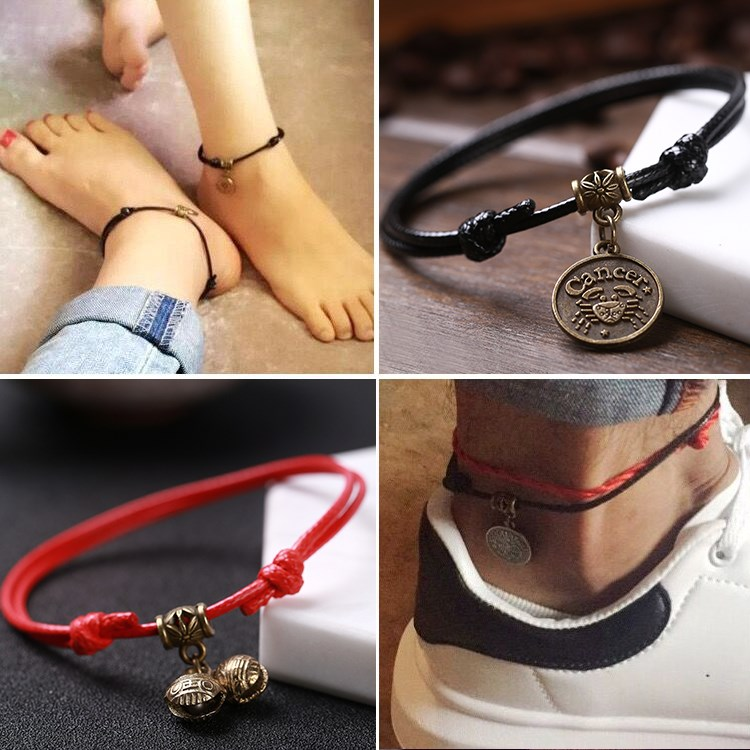 Twelve constellations Anklet men and women Korean version simple student Mori red rope foot rope Fashion Black Retro Bracelet feet.