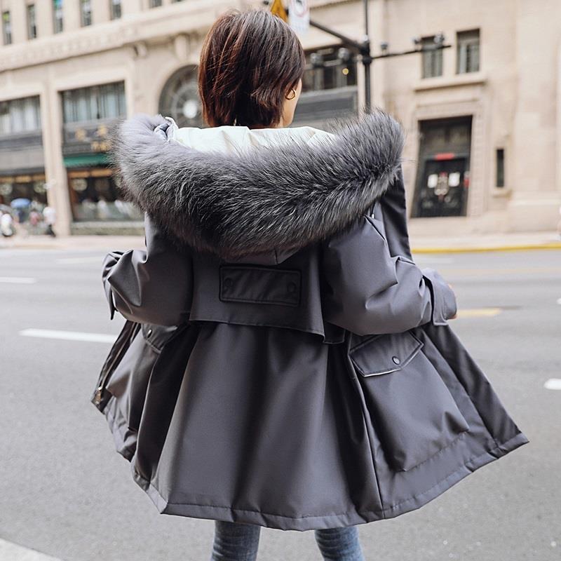 2020冬装新款韩版修身棉服女中长款加厚显瘦毛领派克服小个子爆款