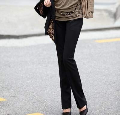 Spring and summer high waist straight tube large professional dress work suit pants womens long pants micro black
