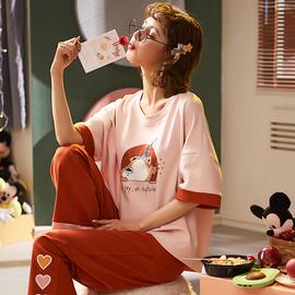 睡衣女夏季纯棉短袖长裤学生可爱韩版清新薄款家居服套装春秋大码图片
