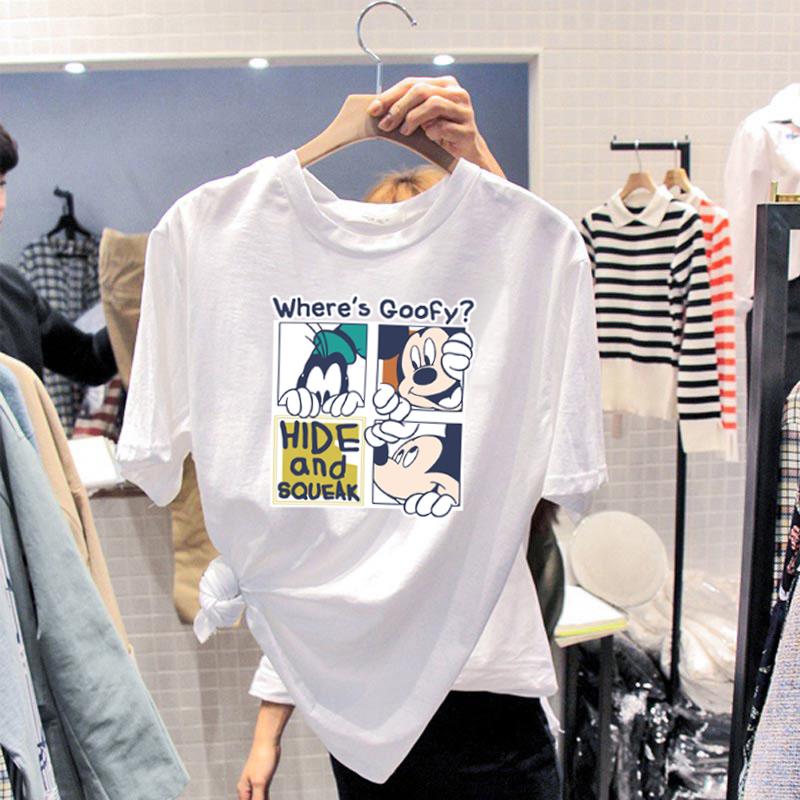 2020新款女装打底衫宽松韩版米奇纯棉白色T恤女时尚洋气小衫百搭