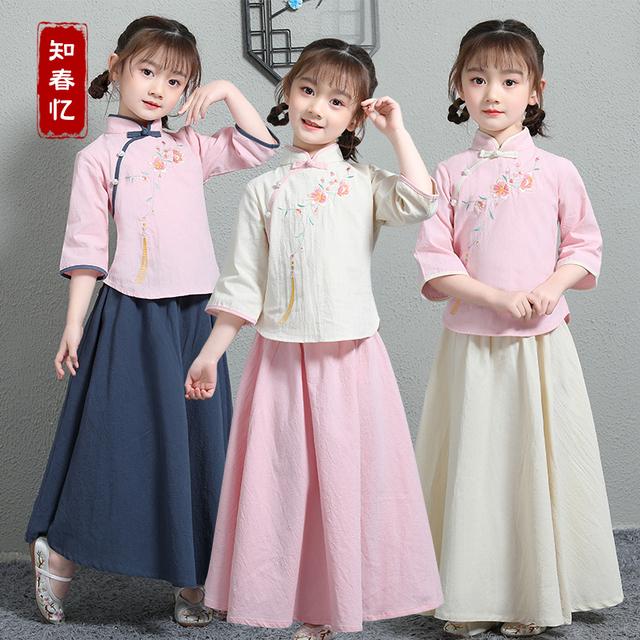 汉服女童春装中国风儿童民国服装男童唐装宝宝棉麻古装超仙演出服