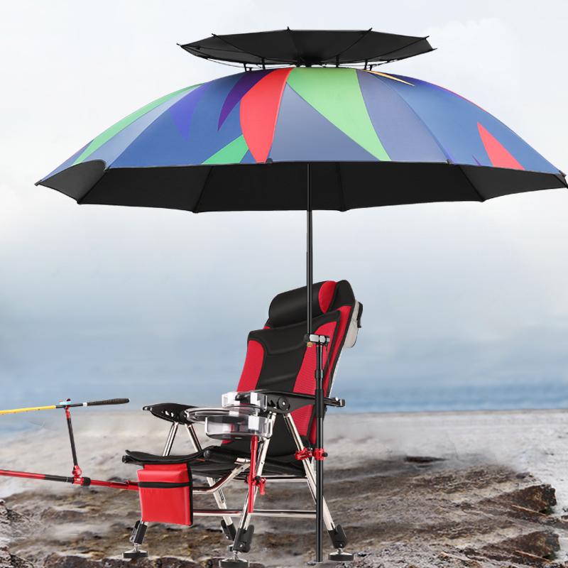 弘日釣魚傘大釣傘加厚防曬遮陽傘萬向雙層折疊防雨傘2.4大垂釣傘