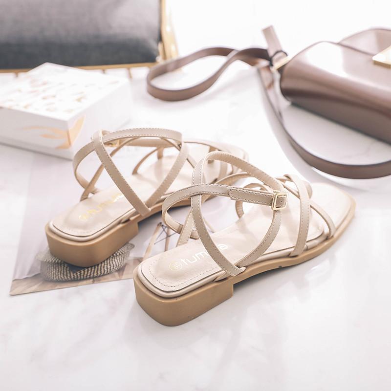 图木拉方头女凉鞋平底交叉带罗马鞋女一字带学生罗马凉鞋女夏夹趾需要用券