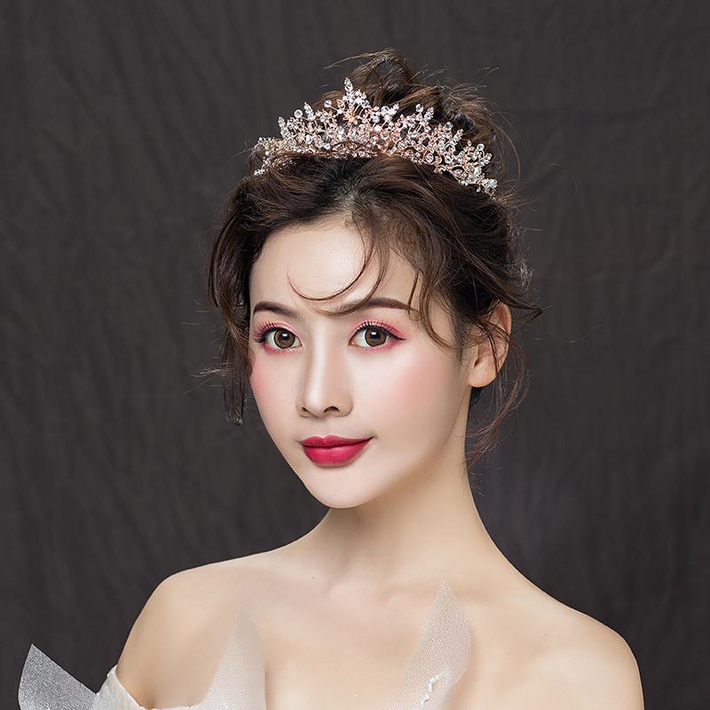 Crown headdress bride Korean wedding net red hair ornament newly married fairy 18 years old Baroque super Sen 853
