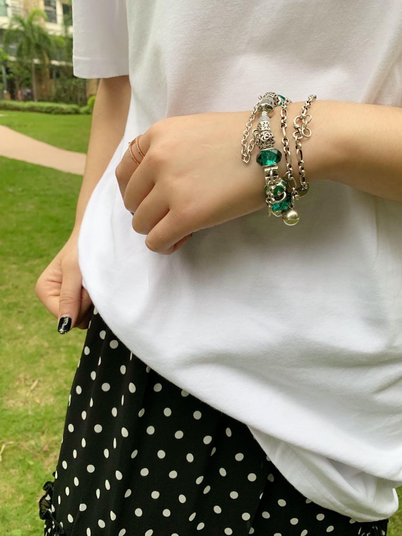 漠小曼MXM情侣手链朵拉手链琉璃珠首饰手镯转运珠绿色民族风