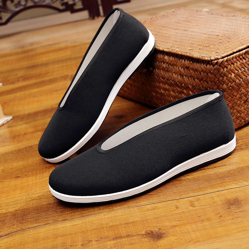 Round mouth kung fu shoes light and breathable v-mouth lazy mens shoes for men