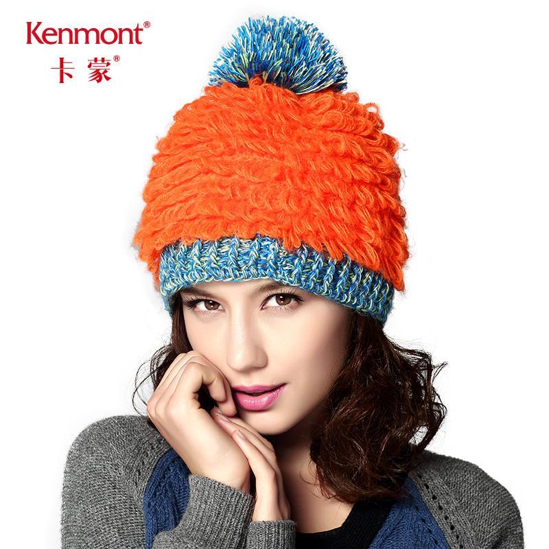 卡蒙帽子女冬季加绒加厚毛线帽时尚针织帽百搭帽撞色拼接荧光设计