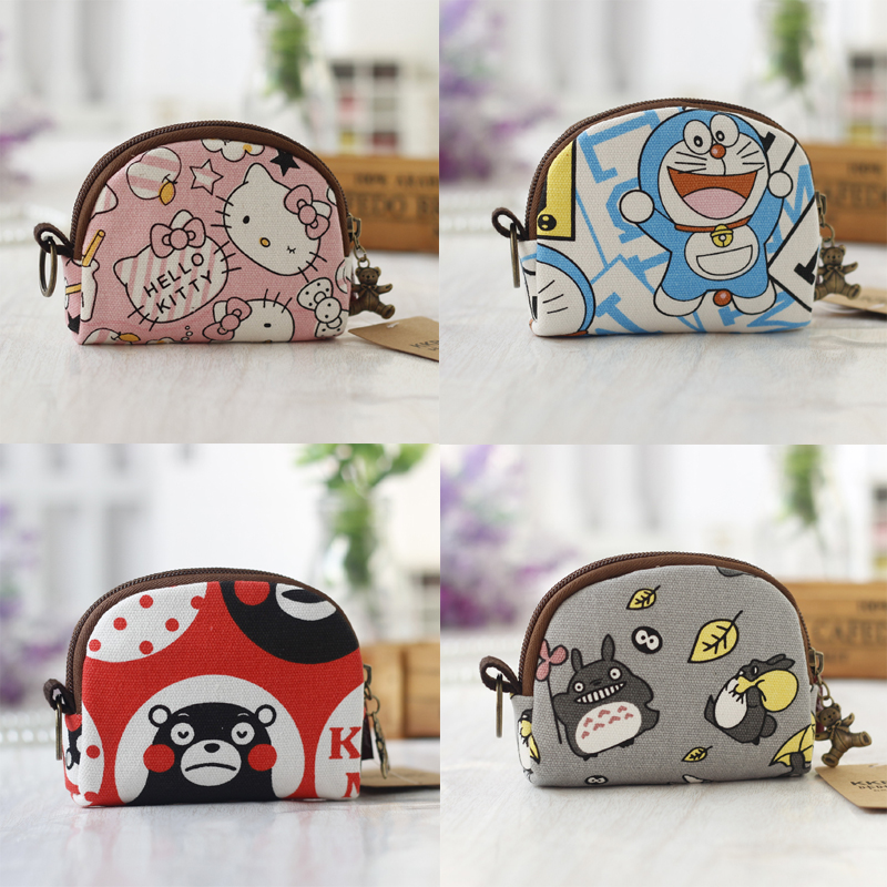 Small fresh and lovely change bag female creative rural style coin bag children gift cartoon simple canvas key bag