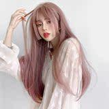 假发女薄藤粉色Lolita公主切姬发刘海长直发 微卷圆脸自然全头套