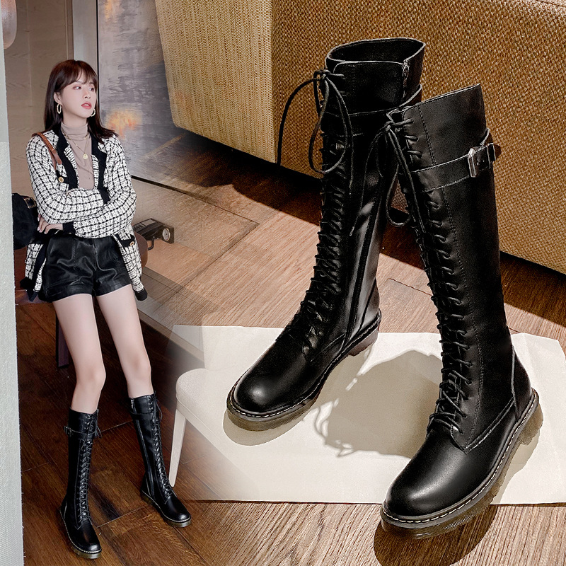 British Martin boots womens autumn and winter 2020 new high cylinder Knight boots over the knee boots womens thick heel net red thin boots