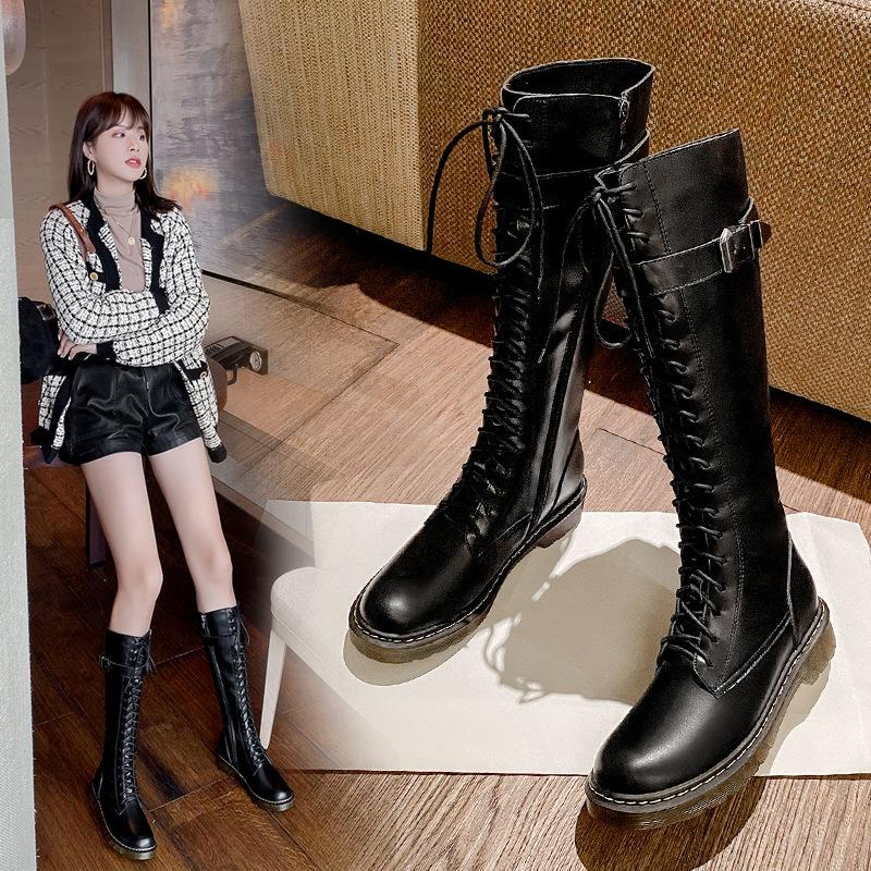 英伦马丁靴女2020秋冬新款高筒骑士靴过膝长靴女粗跟网红瘦瘦靴子