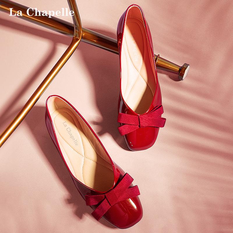 拉夏贝尔红色单鞋女鞋2020新款蝴蝶结百搭玛丽珍浅口圆头平底鞋子