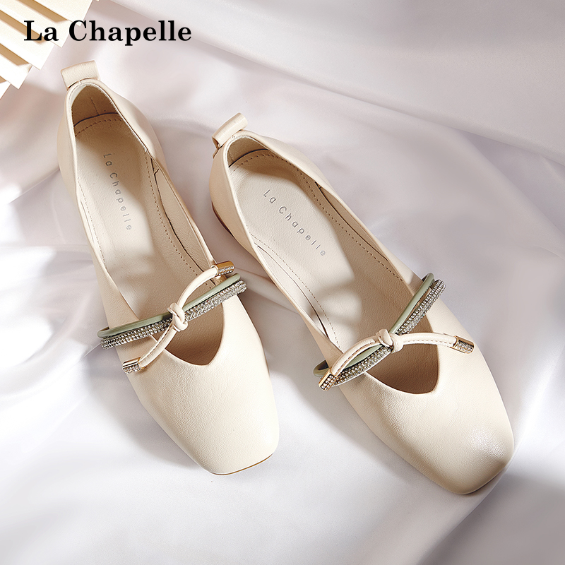 拉夏贝尔女鞋2020夏季新款网红浅口平底单鞋女百搭镶钻小香风鞋子