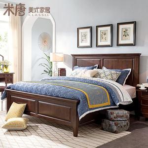 米唐美式乡村经典白蜡木全实木整板床 高箱床双人床卧室家具Eaton