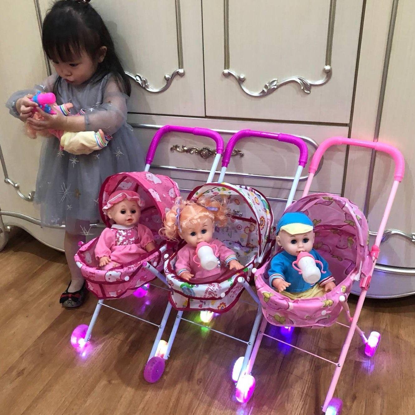 儿童玩具推车带娃娃发光声女童女孩过家家玩具手推车宝宝生日礼物