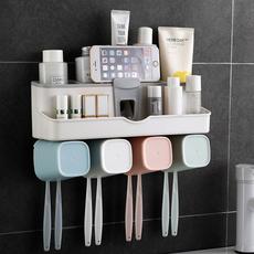 可爱创意免打孔壁挂吸壁式牙刷牙膏牙杯置物架家用抖音简约收纳盒