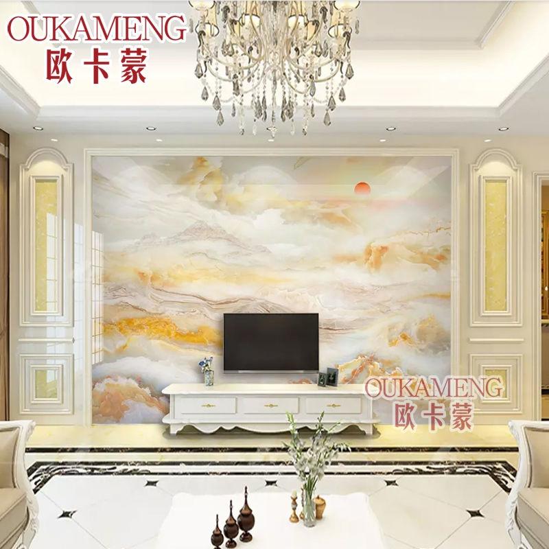 欧卡蒙大理石瓷砖背景墙客厅电视造型新中式山风水画影视墙微晶砖限3000张券