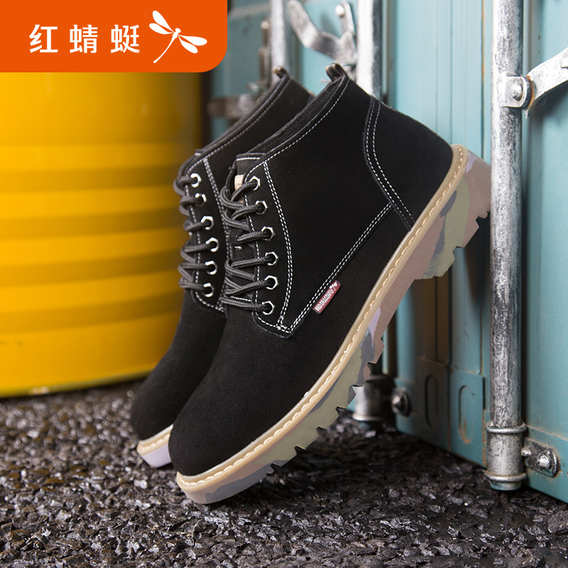 Red Dragonfly British style Martin boots work clothes shoes autumn and winter new youth outdoor leisure high top shoes cattle shoes