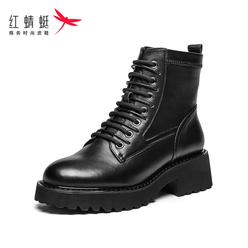 Red Dragonfly womens shoes fall 2020 new black classic thick soled square heel high top lace up leather Martin boots