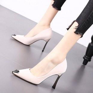 2020夏季新款韓版網紅水鑽時尚百搭高跟鞋女細跟尖頭淺口單鞋女鞋