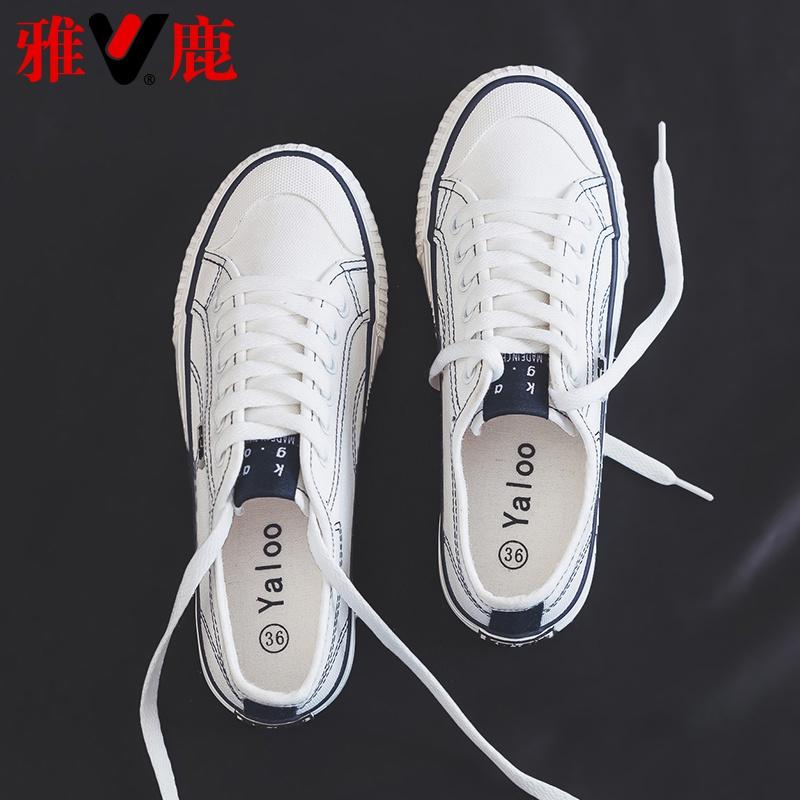 雅鹿女鞋秋冬小白鞋2019爆款鞋子秋季百搭基础潮鞋新款韩版帆布鞋