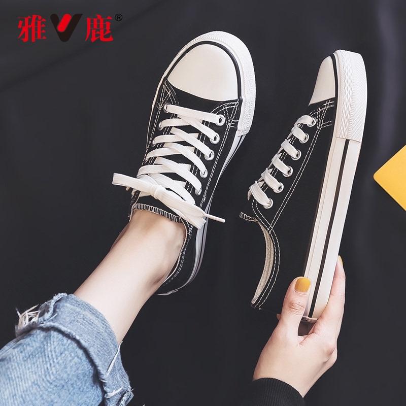 雅鹿帆布鞋女黑色低幫百搭小白鞋學生韓版ulzzang泫雅風小眾板鞋
