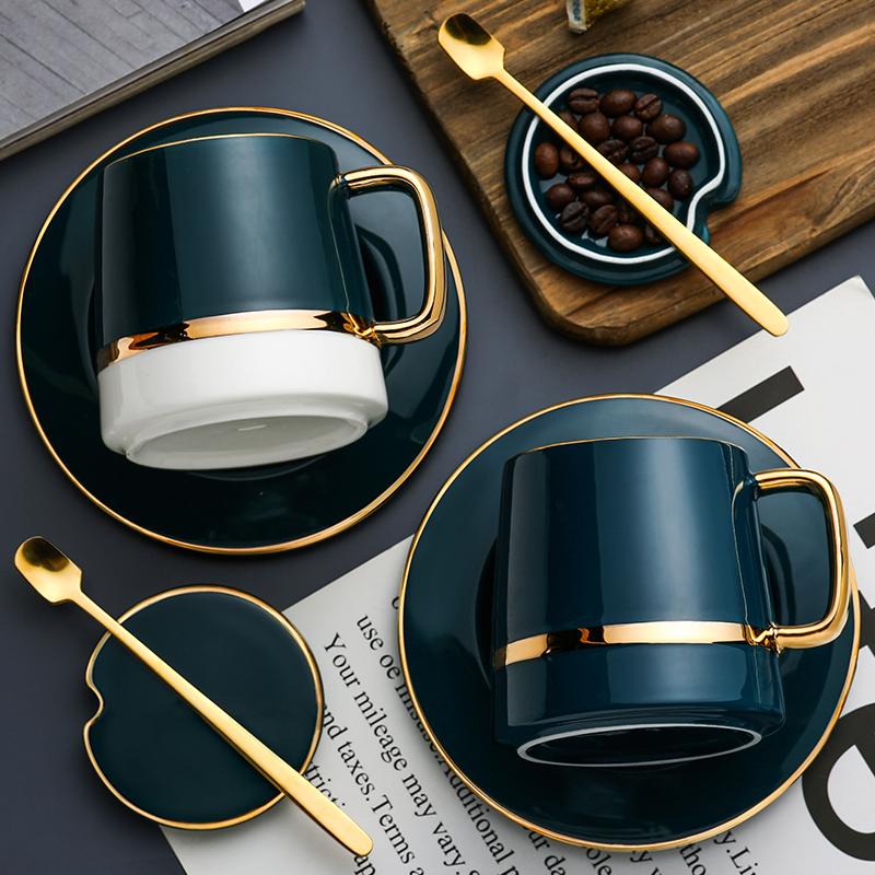 北欧ins马克杯带盖勺陶瓷杯子创意个性潮流家用大容量情侣咖啡杯