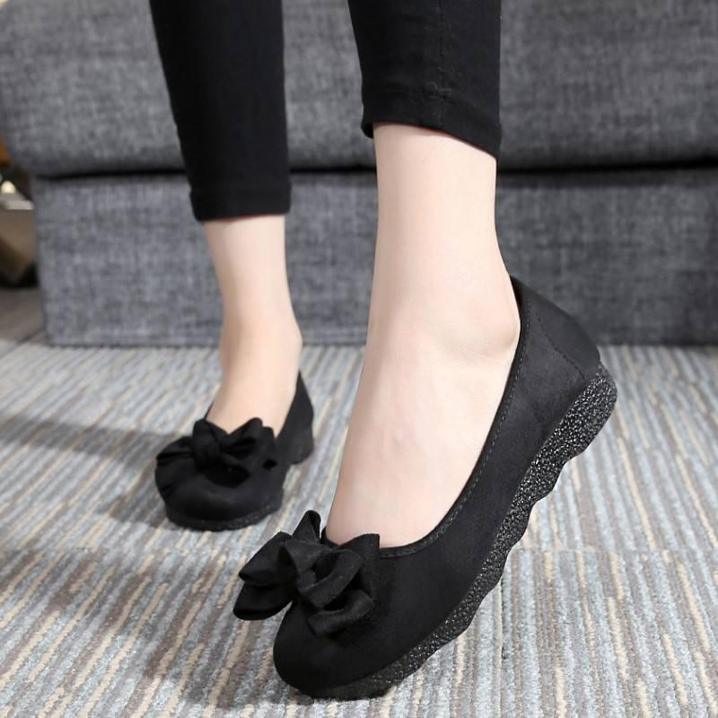 珍源祥老北京布鞋女鞋平底豆豆单鞋蝴蝶结圆头浅口软底黑色工作鞋
