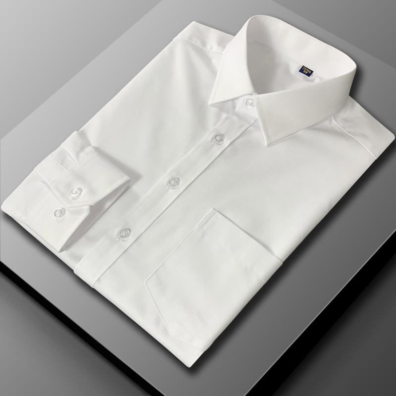Lenzo / collar high-grade shirt mens white Long Sleeve tooling business cotton no iron anti wrinkle short sleeve shirt mens