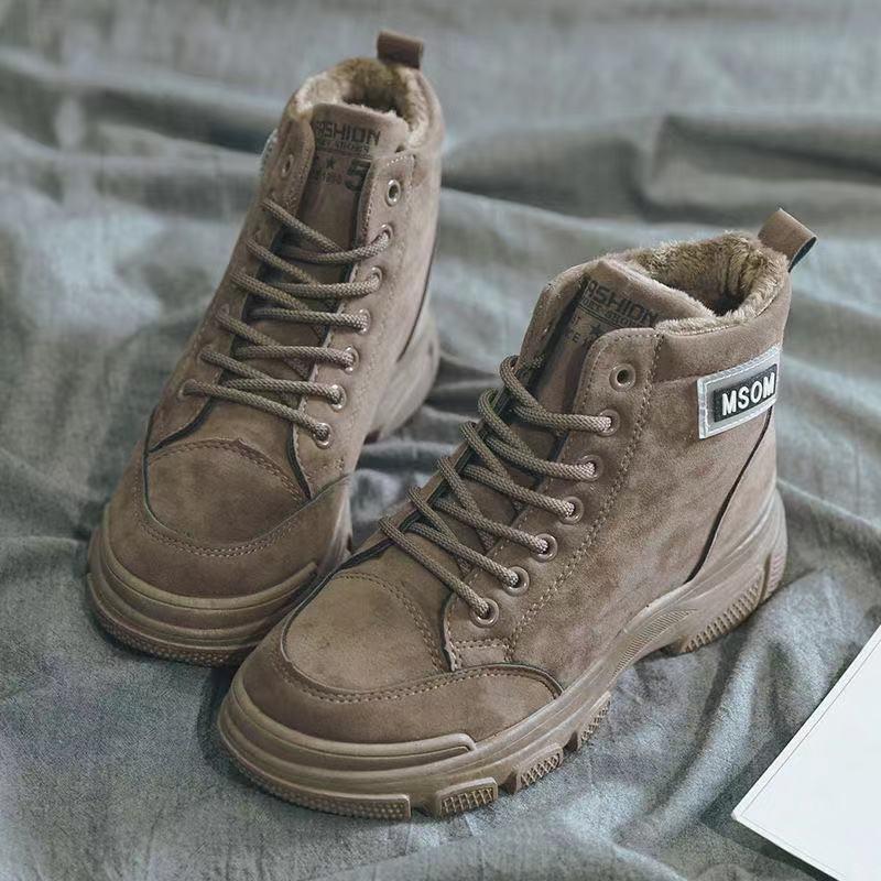 马丁靴女鞋新款英伦风帅气百搭秋季高帮短靴子秋冬女鞋保暖加绒
