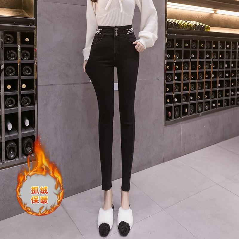 高腰牛仔裤女冬季新款弹力修身显瘦铅笔小脚裤潮